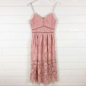 Boohoo Lace A-Line Midi Dress Light Pink Strappy